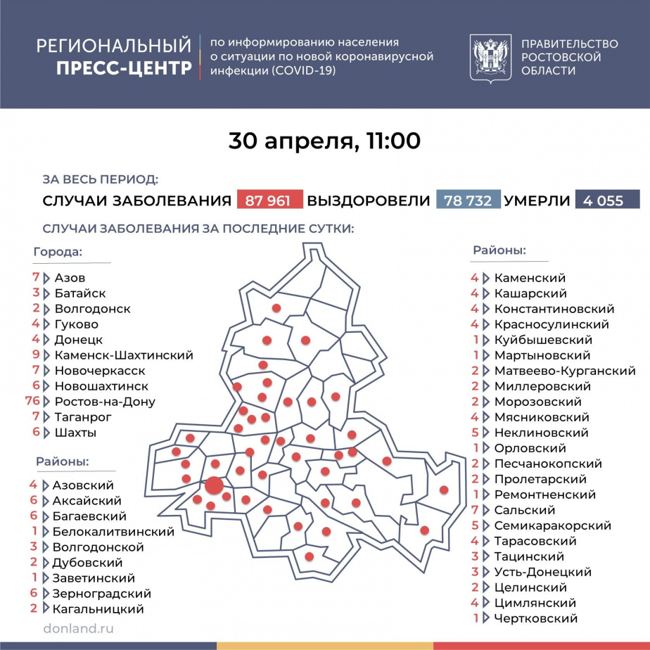 В Тарасовском районе 4 новых заболевших ковидом